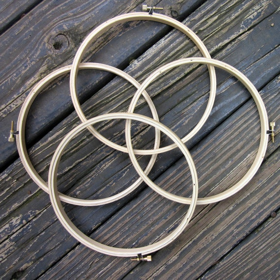 Craft Supplies - Four Wood Embroidery Hoops