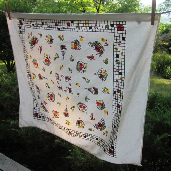Small Vintage Tablecloth - Cotton by Startex