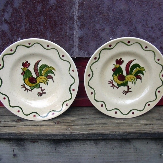 Vintage Poppy Trail Rooster Plates by Metlox - Kitchen Decor