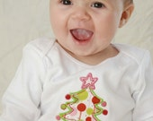 PERSONALIZED Baby's first Christmas CUSTOM applique bodysuit