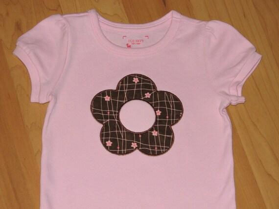 Custom flower initial applique onesie or tshirt