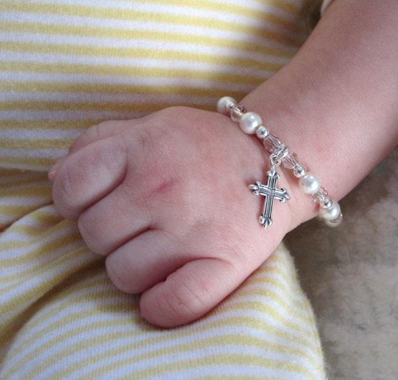 Baby Bracelet FEATURED April 2012 Model Life Magazine Baptism bracelet sterling silver Cross swarovski crystal pearl CUSTOMIZE IT Keepsake