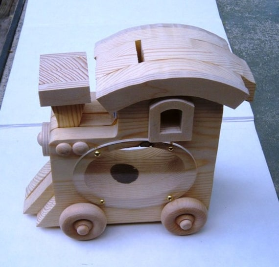supplies handmade coin bank wooden large train by