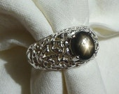 RESERVED FOR SYLVIA  black star sapphire sterling silver ring size 9