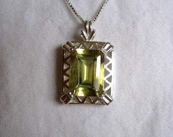 "14MM X 10MM emerald cut 7 CT lemon quartz in fancy sterling silver pendant with 18"" baby box chain"