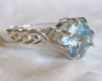 8mm square cut 2.50 ct swiss blue topaz sterling silver ring size 8