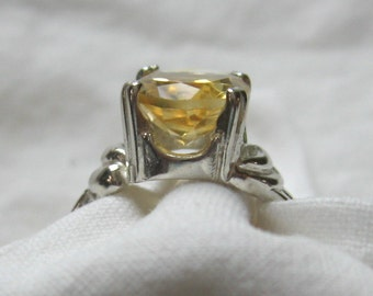 11mm x 9mm oval cut 2.85 ct citrine sterling silver ring size 7