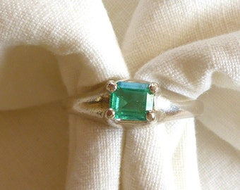 4.5mm x 5.5mm emerald cut .50 ct Colombian emerald sterling silver ring size 7