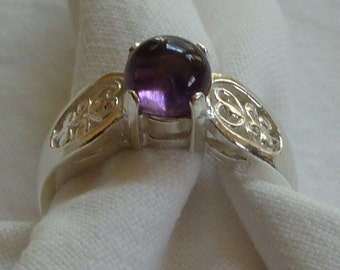 5MM round cut cabochon 1 ct amethyst sterling silver ring size 7