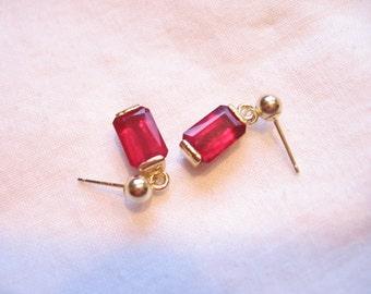 9MM X6MM EMERALD CUT 4.65 CTW MADAGASCAR RUBY 14 K GOLD DANGLE EARRINGS