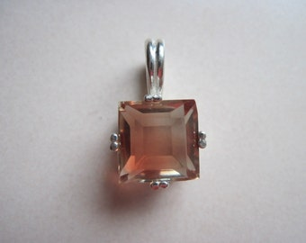 10MM square cut 3.85 CT light red oregon sunstone sterling silver pendant