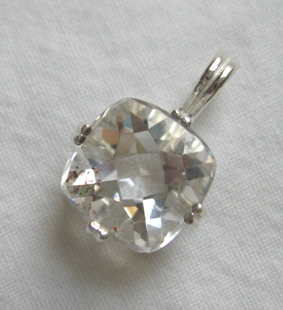 10mm square cushion cut 7.20 ct lepidocrocite strawberry quartz sterling silver pendant with sterling silver baby box chain