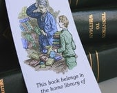 Boy at the Library Bookplates - set of 16