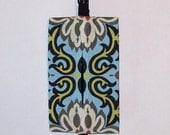Auto Visor Tissue Caddy - Tissue Cozy - Stylish Tissue Holder For Your Car - Amy Butler Temple Garden Blue - Out of Print Fabric