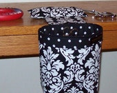 Thread Catcher, Scrap Caddy, Pin Cushion - Michael Miller Dandy Damask - Black and White - With Rubberized Gripper Strip