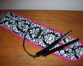 Curling Iron Case / Flat Iron Cover For Travel, Storage Or The Gym - Dandy Damask - Black and White with bright pink edging