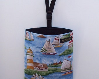 Sale - Auto Trash - Car Litter Bag - Lighthouses and Sailboats
