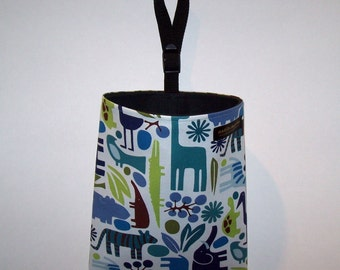Car Litter Bag - Auto Litter Bag - Auto Trash Bag - 2D Zoo - Blue