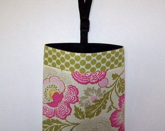 Car Litter Bag // New Stay Open Design ! // Auto Litter Bag // Auto Trash Bag // Amy Butler Fresh Poppies and Full Moon Polka Dot