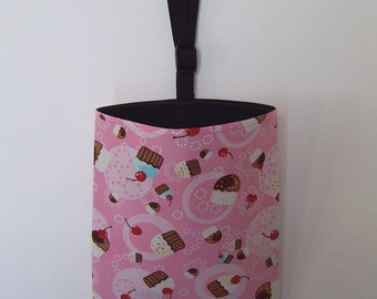 Auto Trash - Car Litter Bag - Cupcakes and Cherries on Pink