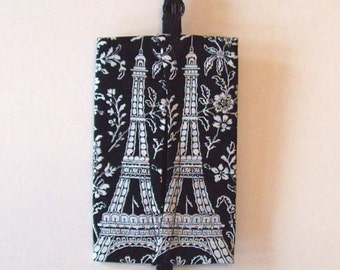 Auto Visor Tissue Caddy - Tissue Cozy - Stylish Tissue Holder For Your Car - Michael Miller Eiffel Tower - Black and White