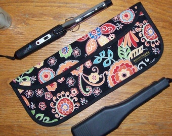 Curling Iron Case / Flat Iron Cover for Travel or the Gym (Insulated) - Michael Miller - Boho Blossom