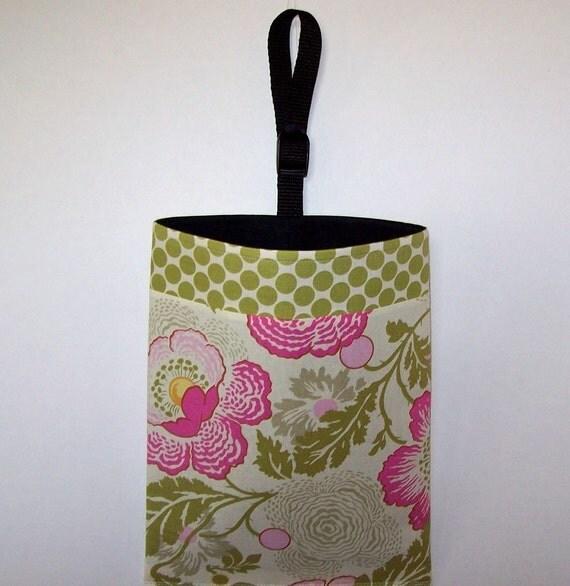 Car Litter Bag - Auto Litter Bag - Two Fabric Design - Amy Butler Fresh Poppies and Full Moon Polka Dot