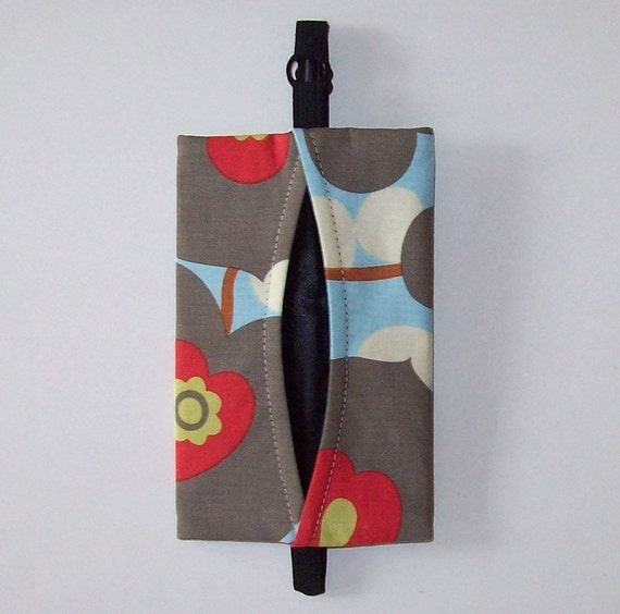 Auto Visor Tissue Caddy - Tissue Cozy - Stylish Tissue Holder For Your Car - Amy Butler Lotus Morning Glory