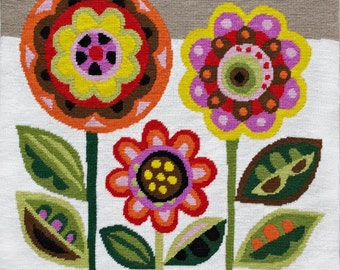 Mid-Century Flowers needlepoint