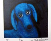 Original signed  Print BLUE DOXIE (DACHSHUND) by Ellen Haasen