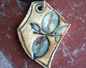 Teal Leaves Porcelain Pendant