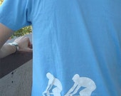 Reflective T-Shirt for Cyclists (Mens M or L, Light Blue)