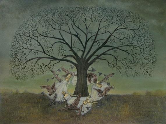 Round the Oak Tree - 11 x 14 Print