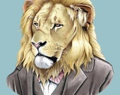 Lion art print - lion art - lion print - animals in suits - fathers day - fathers day gift - groomsmen gift - Ryan Berkley 5x7