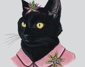 Black Cat Lady art print by Ryan Berkley 5x7