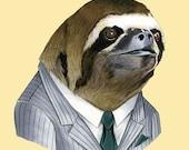 Sloth Portrait animal art print by Ryan Berkley 11x14