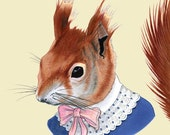 Red Squirrel art print 11x14