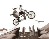 Tandem Bike Daredevils art print 8x10