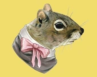 Squirrel Lady art print 11x14