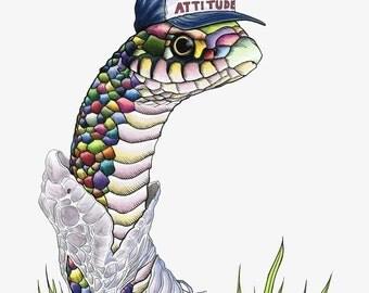 Rainbow Snake  with a New Attitude art print by Ryan Berkley 8x10