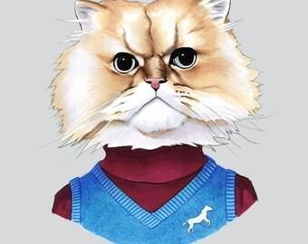 Fuzzy Cat art print by Ryan Berkley 8x10