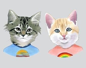 Kittens art print 5x7