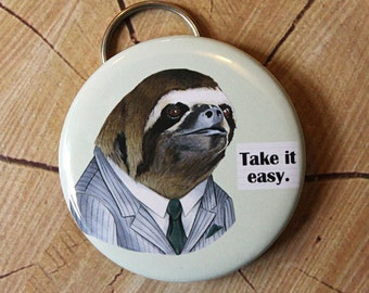 Sloth Keychain Bottle Opener - Ryan Berkley Illustration
