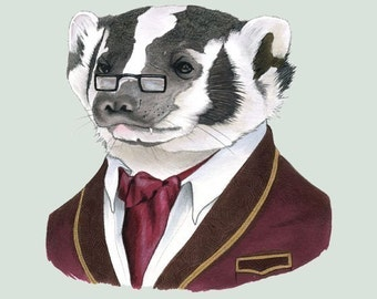 Badger art print by Ryan Berkley 8x10