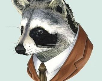 Raccoon animal print - modern kid art - art print - modern nursery - animals in clothes - animal artwork - Ryan Berkley Illustration 8x10