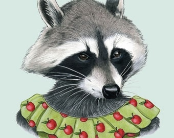 Raccoon Lady art print 8x10