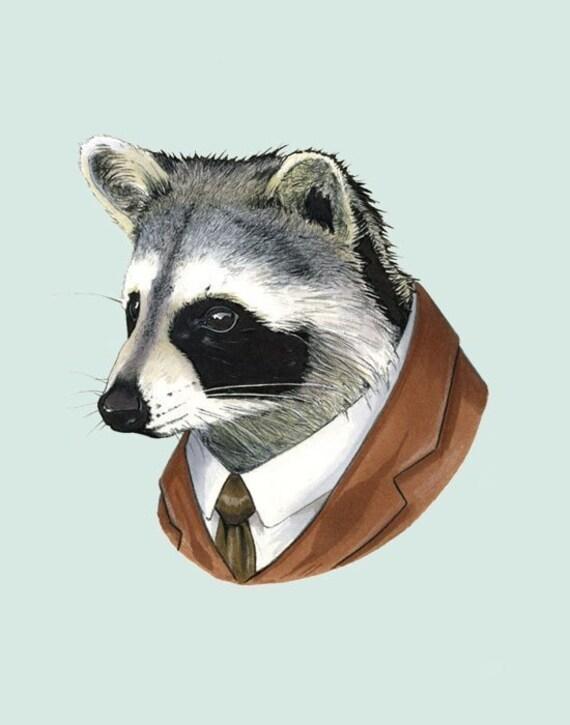 Raccoon print 11x14