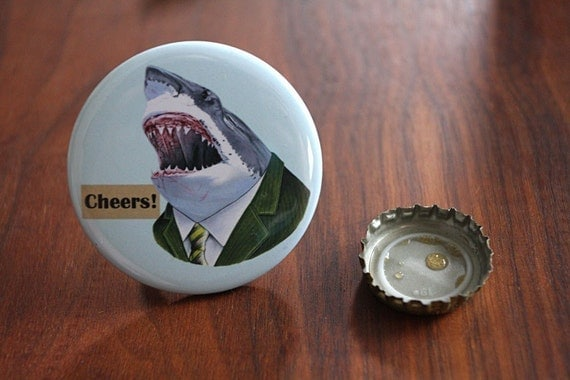 Shark Bottle Opener Keychain - Ryan Berkley Illustration