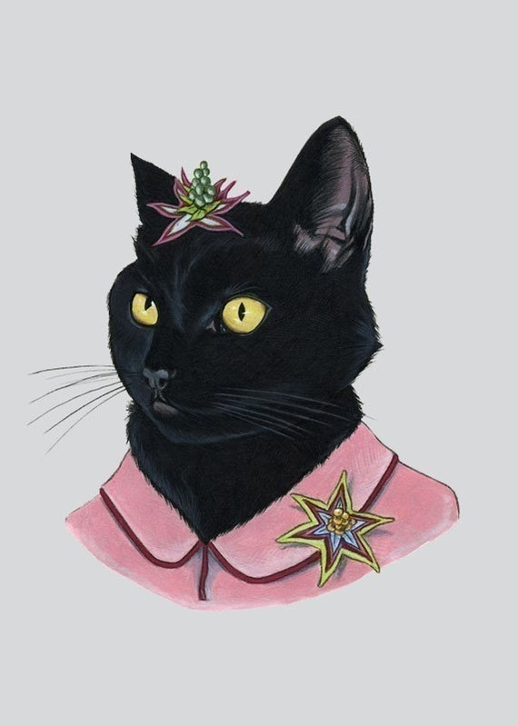 Black Cat Lady Art Print By Ryan Berkley By