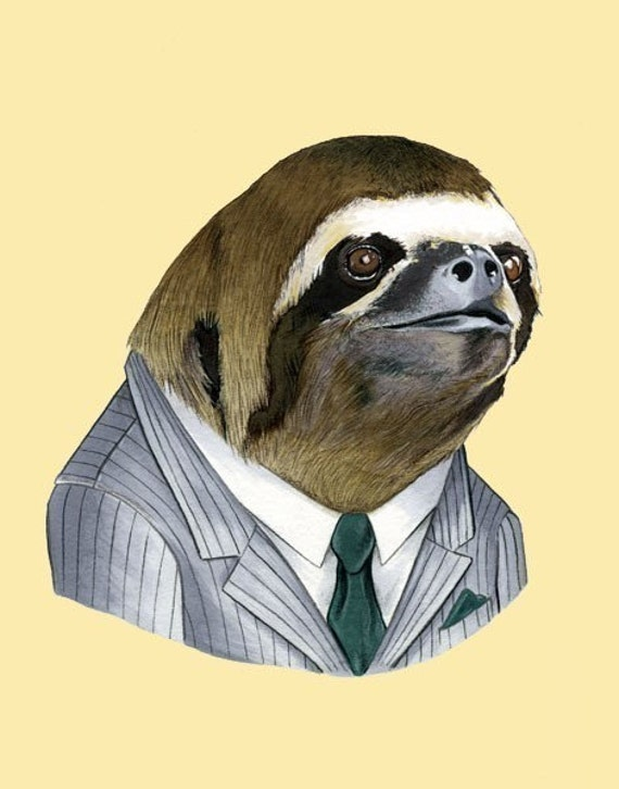 Sloth Portrait animal art print by Ryan by berkleyillustration